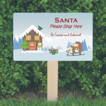 Personalised Santa Stop Here Sign – Hedgehogs on a Sledge Design - Festive Christmas Sign Decoration